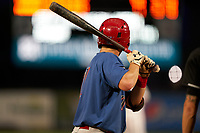 Clearwater Threshers Madison Stokes (17) bats during a Florida State League game against the Palm Beach Cardinals on August 9, 2019 at Roger Dean Chevrolet Stadium in Jupiter, Florida.  Palm Beach defeated Clearwater 3-0 in the second game of a doubleheader.  (Mike Janes/Four Seam Images)
