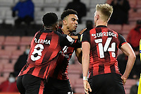 Junior Stanislas of AFC Bournemouth middle has words with Sam Surridge of AFC Bournemouth as Jefferson Lerma of AFC Bournemouth intervens during AFC Bournemouth vs Wycombe Wanderers, Sky Bet EFL Championship Football at the Vitality Stadium on 15th December 2020