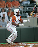 Texas LF Kevin Keyes bats against Texas A&M on May 16th, 2008 in Austin Texas. Photo by Andrew Woolley / Four Seam Images.