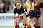 GER - Luebeck, Germany, February 06: During the 1. Bundesliga Damen indoor hockey semi final match at the Final 4 between Berliner HC (blue) and Duesseldorfer HC (red) on February 6, 2016 at Hansehalle Luebeck in Luebeck, Germany. Final score 1-3 (HT 0-1). (Photo by Dirk Markgraf / www.265-images.com) *** Local caption *** Stefanie Wendt #27 of Berliner HC