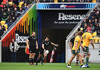 11th October 2020; Sky Stadium, Wellington, New Zealand;   Richie Mo'unga during the Bledisloe Cup rugby union test match between the New Zealand All Blacks and Australia Wallabies.