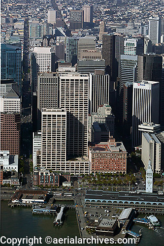 aerial photograph One Market Plaza Spear Street tower, Steuart Tower, San Francisco financial district