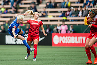 Seattle, WA - Saturday May 13, 2017: Megan Rapinoe and Line Sigvardsen-Jensen during a regular season National Women's Soccer League (NWSL) match between the Seattle Reign FC and the Washington Spirit at Memorial Stadium.