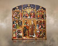 Gothic altarpiece of Saint Esteve (Stephen) & John the Baptist by Mestre de Bardalona, early 15th century, tempera and gold leaf on for wood from Santa Maria de Badalona.  National Museum of Catalan Art, Barcelona, Spain, inv no: MNAC   15824.