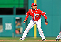 2 April 2011: Washington Nationals infielder Jerry Hairston Jr. in action against the Atlanta Braves at Nationals Park in Washington, District of Columbia. The Nationals defeated the Braves 6-3 in the second game of their season opening series. Mandatory Credit: Ed Wolfstein Photo