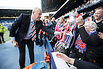 Mark Warburton takes the trophy to the Rangers fans