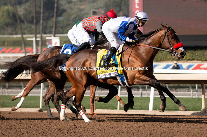 ARCADIA, CA: #4 Venetian Harbor with jockey Flavien Prat first time by in the Grade II Las Virgenes Stakes at Santa Anita Park in Arcadia, California on February 08, 2020.