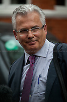 """Baltasar Garzón (Spanish jurist, formerly served on Spain's central criminal court. He issued an international warrant for the arrest of former Chilean President, General Augusto Pinochet. It was the first time that a former government head was arrested on the principle of """"universal jurisdiction"""". Now, he is the head of Assange legal team). <br /> <br /> London, 19/08/2012. Today, Julian Assange made his first speech after two months (19th June 2012) he has been living as a refugee in the Ecuadorian Embassy in London. On Thursday he was granted Diplomatic Asylum by the President of Ecuador, Rafael Correa. Previously, Baltasar Garzón (former Spanish Judge, now head of Assange legal team), Tariq Ali, Craig Murrey and others had made speeches in support and solidarity with the Australian Journalist founder of Wikileaks."""