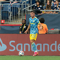 FOXBOROUGH, MA - AUGUST 8: Kai Wagner #27 of Philadelphia Union looks to pass during a game between Philadelphia Union and New England Revolution at Gillette Stadium on August 8, 2021 in Foxborough, Massachusetts.
