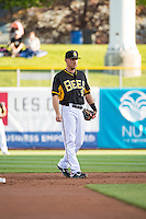 Alex Yarbrough (9) of the Salt Lake Bees on defense against the Sacramento River Cats in Pacific Coast League action at Smith's Ballpark on April 20, 2015 in Salt Lake City, Utah.  (Stephen Smith/Four Seam Images)