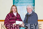 Marie Lehane presents the  proceeds of the Christmas Craft fair she held in Kilcummin to the Parkinsons Ass of Ireland in Kilcummin on the 21 December