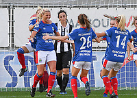 20190810 - DENDERLEEUW, BELGIUM : Linfield's Ashley Hutton (left) pictured celebrating her goal and the 1-2 lead for Linfield during the female soccer game between the Greek PAOK Thessaloniki Ladies FC and the Northern Irish Linfield ladies FC , the second game for both teams in the Uefa Womens Champions League Qualifying round in group 8 , Wednesday 7 th August 2019 at the Van Roy Stadium in Denderleeuw  , Belgium  .  PHOTO SPORTPIX.BE | DAVID CATRY