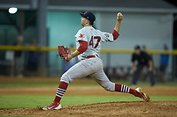 Johnson City Cardinals relief pitcher Will Guay (47) in action against the Burlington Royals at Burlington Athletic Stadium on September 4, 2019 in Burlington, North Carolina. The Cardinals defeated the Royals 8-6 to win the 2019 Appalachian League Championship. (Brian Westerholt/Four Seam Images)