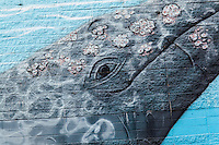 """Exploring the detail of a whale mural on a bulding along San Francisco Bay.  The mural is signed and dated, """"Greenwood  2008""""."""