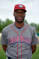 Lehigh Valley IronPigs pitcher Enyel De Los Santos (21) poses for a photo after a game against the Syracuse Chiefs on May 20, 2018 at NBT Bank Stadium in Syracuse, New York.  Lehigh Valley defeated Syracuse 5-2.  (Mike Janes/Four Seam Images)