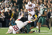 PASADENA, CA - January 1, 2014: The Stanford Cardinal vs the Michigan State Spartans in the 2014 Rose Bowl in Pasadena, California. Final score Stanford Cardinal 20, Michigan State Spartans 24.