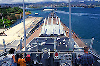 From the USS Missouri, where the Japanese signed the surrender marking the end of WWII, visitors can see the Arizona Memorial, which commemorates the beginning of the war on Dec. 7, 1941.