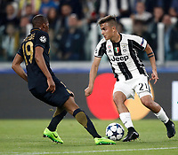 Football Soccer: UEFA Champions League semifinal second leg Juventus - Monaco, Juventus stadium, Turin, Italy,  May 9, 2017. <br /> Juventus' Paulo Dybala (r) in action with Djibril Sidibé (l) during the Uefa Champions League football match between Juventus and Monaco at Juventus stadium, on May 9, 2017.<br /> UPDATE IMAGES PRESS/Isabella Bonotto
