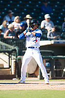 Surprise Saguaros shortstop Santiago Espinal (6), of the Toronto Blue Jays organization, at bat during an Arizona Fall League game against the Glendale Desert Dogs at Surprise Stadium on November 13, 2018 in Surprise, Arizona. Surprise defeated Glendale 9-2. (Zachary Lucy/Four Seam Images)