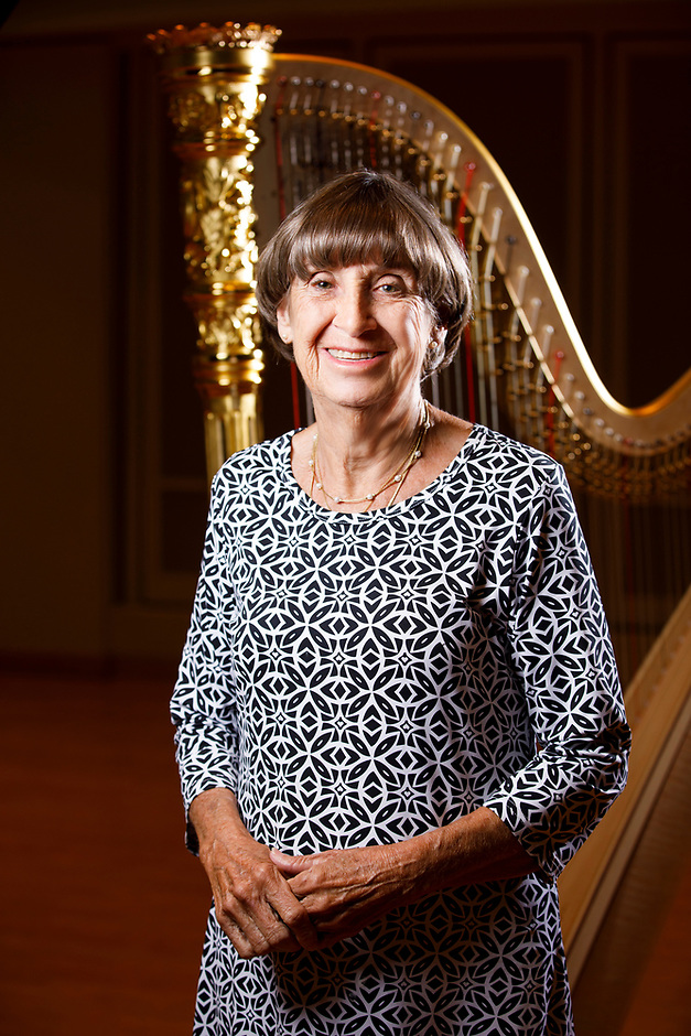USA International Harp Competition Board of Directors member Joan D. Ferguson poses for a portrait during the 11th USA International Harp Competition at Indiana University in Bloomington, Indiana on Saturday, July 13, 2019. (Photo by James Brosher)