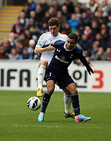 Pictured L-R: Ben Davies of Swansea against of Tottenham Saturday 30 March 2013<br /> Re: Barclay's Premier League, Swansea City FC v Tottenham Hotspur at the Liberty Stadium, south Wales.