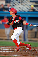 Batavia Muckdogs outfielder Steve Ramos #5 during a game against the State College Spikes at Dwyer Stadium on August 8, 2012 in Batavia, New York.  Batavia defeated State College 6-3.  (Mike Janes/Four Seam Images)