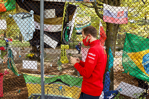30th October 2020, Imola, Italy; FIA Formula 1 Grand Prix Emilia Romagna, inspection day;  5 Sebastian Vettel GER, Scuderia Ferrari Mission Winnow visits the statue and remembrance of Ayrton Senna