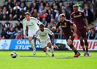 Pictured: (L-R) Michu, Wayne Routledge, Pablo Zabaleta, Vincent Kompany. <br /> Saturday 04 May 2013<br /> Re: Barclay's Premier League, Swansea City FC v Manchester City at the Liberty Stadium, south Wales.