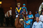 """DEL MAR, CA  AUGUST 21: #4 United, ridden by Flavien Prat, in the post parade of the Del Mar Handicap (Grade ll) Breeders Cup """"Win and You're In"""" Turf Division on August 21, 2021 at Del Mar Thoroughbred Club in Del Mar, CA  (Photo by Casey Phillips/Eclipse Sportswire/CSM)"""