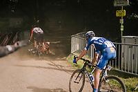crash at the start of the Cauberg sector<br /> <br /> 3rd Dwars Door Het hageland 2018 (BEL)<br /> 1 day race:  Aarschot > Diest: 198km