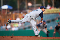 Brooklyn Cyclones pitcher Raul Jacobson (12) delivers a pitch during a game against the Tri-City ValleyCats on September 1, 2015 at Joseph L. Bruno Stadium in Troy, New York.  Tri-City defeated Brooklyn 5-4.  (Mike Janes/Four Seam Images)