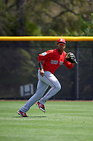 Boston Red Sox Juan Barriento (41) during practice before a minor league Spring Training game against the Tampa Bay Rays on March 23, 2016 at Charlotte Sports Park in Port Charlotte, Florida.  (Mike Janes/Four Seam Images)