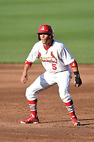 Springfield Cardinals outfielder Rafael Ortega (5) leads off during a game against the Frisco Rough Riders on June 1, 2014 at Hammons Field in Springfield, Missouri.  Springfield defeated Frisco 3-2.  (Mike Janes/Four Seam Images)