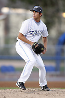 July 11, 2009:  Pitcher Daniel DeLucia of the Dunedin Blue Jays delivers a pitch during a game at Dunedin Stadium in Dunedin, FL.  Dunedin is the Florida State League High-A affiliate of the Toronto Blue Jays.  Photo By Mike Janes/Four Seam Images