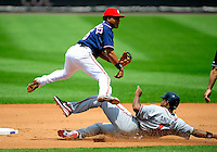 4 July 2009: Washington Nationals' second baseman Anderson Hernandez makes a play at second base against the Atlanta Braves at Nationals Park in Washington, DC. The Nationals rallied with 4 runs in the 8th to defeat the Braves 5-3 and take the second game of the 3-game weekend series. Mandatory Credit: Ed Wolfstein Photo