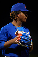 AZL Cubs 1 Manny Collier (16) warms up between innings of an Arizona League game against the AZL Padres 1 on July 5, 2019 at Sloan Park in Mesa, Arizona. The AZL Cubs 1 defeated the AZL Padres 1 9-3. (Zachary Lucy/Four Seam Images)