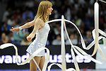 Real Madrid´s cheerleader dancing during 2014-15 Euroleague Basketball Playoffs second match between Real Madrid and Anadolu Efes at Palacio de los Deportes stadium in Madrid, Spain. April 17, 2015. (ALTERPHOTOS/Luis Fernandez)