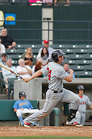 Salem Red Sox infielder Sam Travis (34) at bat during a game against the Myrtle Beach Pelicans at Ticketreturn.com Field at Pelicans Ballpark on May 6, 2015 in Myrtle Beach, South Carolina.  Salem defeated Myrtle Beach  5-4. (Robert Gurganus/Four Seam Images)