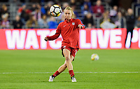 San Jose, CA - Sunday November 12, 2017: Emily Sonnett during an International friendly match between the Women's National teams of the United States (USA) and Canada (CAN) at Avaya Stadium.