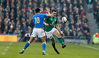 Saturday 10th February 2018 | Ireland vs Italy<br /> <br /> Jacob Stockdale chips the ball over Tommaso Allan during the Six Nations Rugby Championship match between Ireland and Italy at the Aviva Stadium, Lansdowne Road,  Dublin Ireland. Photo by John Dickson / DICKSONDIGITAL