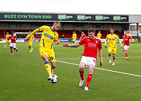 10th October 2020; The County Ground, Swindon, Wiltshire, England; English Football League One; Swindon Town versus AFC Wimbledon; Shane McLoughlin of AFC Wimbledon back heels the ball to beat Dion Donohue of Swindon Town