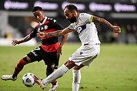 19th March 2021; Bankwest Stadium, Parramatta, New South Wales, Australia; A League Football, Western Sydney Wanderers versus Perth Glory; Diego Castro of Perth Glory crosses the ball as Keanu Baccus of Western Sydney Wanderers approaches