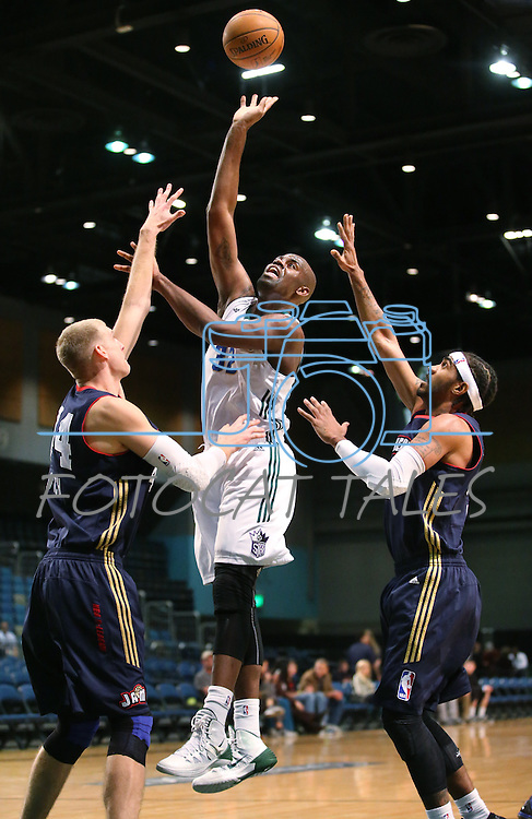 Reno Bighorns' Brian Davis takes a shot during a D-League basketball game against the Bakersfield Jam in Reno, Nev., on Tuesday, Jan. 14, 2014. The Bighorns won 93-85.<br /> Photo by Cathleen Allison