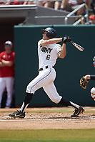 Trey Martin (6) of the Army Black Knights follows through on his swing against the North Carolina State Wolfpack at Doak Field at Dail Park on June 3, 2018 in Raleigh, North Carolina. The Wolfpack defeated the Black Knights 11-1. (Brian Westerholt/Four Seam Images)