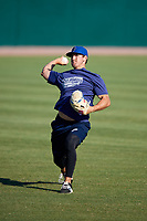 Pensacola Blue Wahoos pitcher Tyler Mahle (31) warms up before a game against the Mobile BayBears on April 25, 2017 at Hank Aaron Stadium in Mobile, Alabama.  Mobile defeated Pensacola 3-0.  (Mike Janes/Four Seam Images)