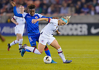 HOUSTON, TX - JANUARY 28: Julie Ertz #8 of the United States moves with the ball during a game between Haiti and USWNT at BBVA Stadium on January 28, 2020 in Houston, Texas.