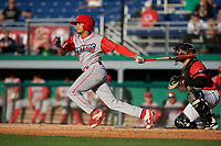 Williamsport Crosscutters Nicolas Torres (9) bats during a NY-Penn League game against the Batavia Muckdogs on August 25, 2019 at Dwyer Stadium in Batavia, New York.  Williamsport defeated Batavia 10-3.  (Mike Janes/Four Seam Images)