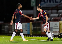 Bolton Wanderers' Shaun Miller (right) comes on to replace Nathan Delfouneso   <br /> <br /> Photographer Andrew Kearns/CameraSport<br /> <br /> The EFL Sky Bet League Two - Stevenage v Bolton Wanderers - Saturday 21st November 2020 - Lamex Stadium - Stevenage<br /> <br /> World Copyright © 2020 CameraSport. All rights reserved. 43 Linden Ave. Countesthorpe. Leicester. England. LE8 5PG - Tel: +44 (0) 116 277 4147 - admin@camerasport.com - www.camerasport.com