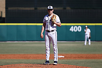 CARY, NC - FEBRUARY 23: Mason Mellott #18 of Penn State University stands on the mound during a game between Wagner and Penn State at Coleman Field at USA Baseball National Training Complex on February 23, 2020 in Cary, North Carolina.
