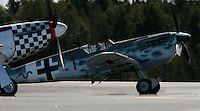 Historic World War II aircraft  Messerschmitt BF109 Bouchon about to take off alongside P-51 Mustang. Norway
